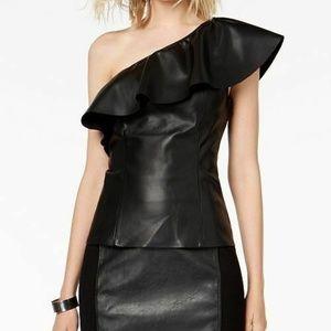 INC International Concepts Faux Leather Top Sz XL
